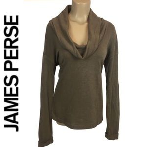 James Perse Brown Long Sleeve Cowl Neck Sweater L